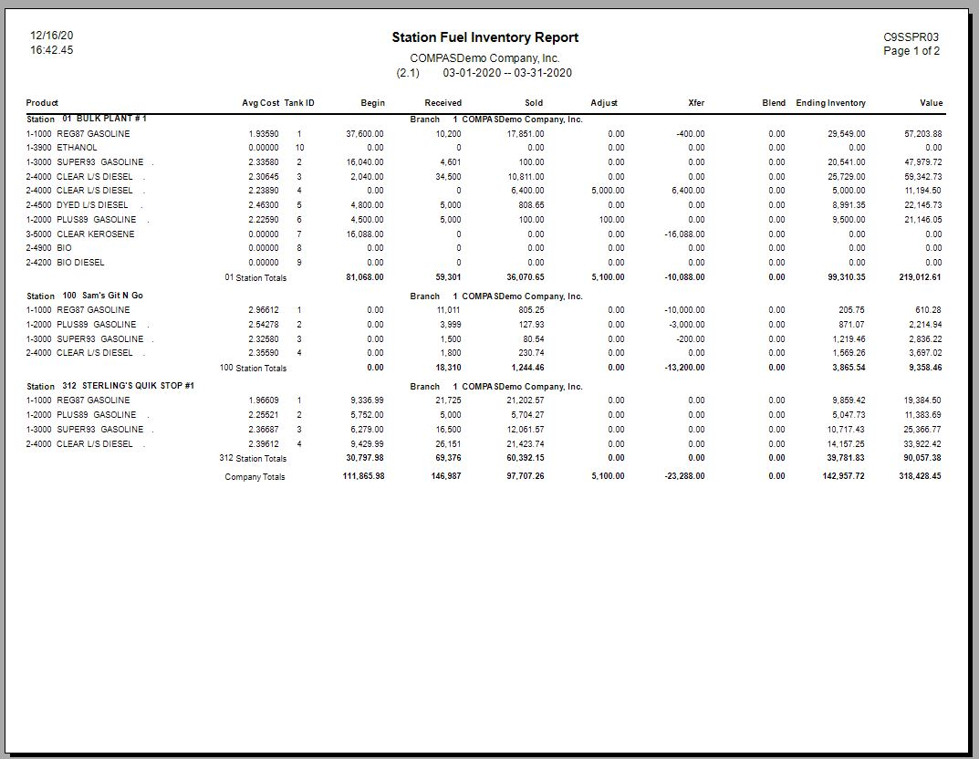 Fuel Inventories at the Tank Level